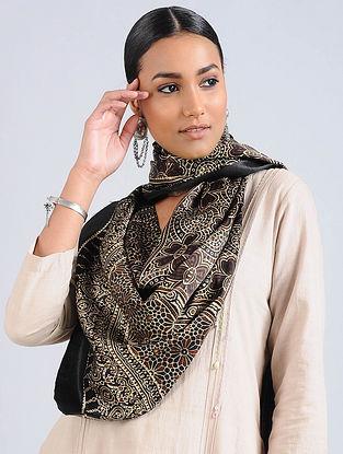 Ivory-Black Ajrakh Printed Modal Silk Stole