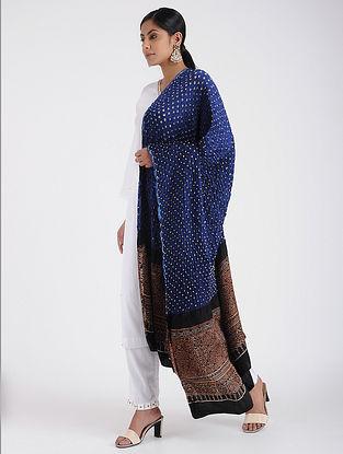 Blue-Red Bandhani and Ajrakh-printed Modal Silk Dupatta