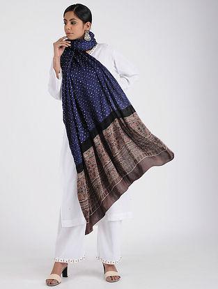 Blue-Grey Bandhani and Ajrakh-printed Modal Silk Dupatta