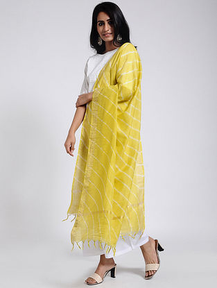 Yellow Leheriya Chanderi Dupatta with Zari