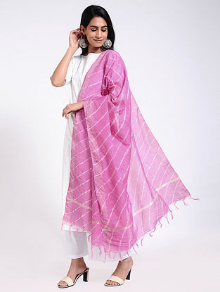 Pink-Ivory Leheriya Chanderi Dupatta with Zari