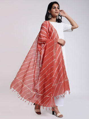 Red-Ivory Leheriya Chanderi Dupatta with Zari