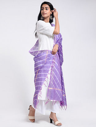 Purple-Ivory Leheriya Chanderi Dupatta with Zari
