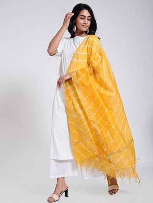 Yellow-Ivory Leheriya Chanderi Dupatta with Zari