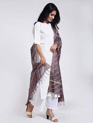 Burgundy-Ivory Leheriya Chanderi Dupatta with Zari