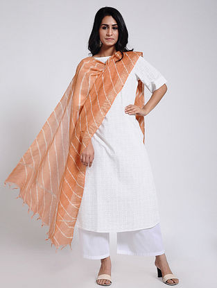 Peach-Ivory Leheriya Chanderi Dupatta with Zari