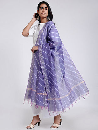 Blue-Ivory Leheriya Chanderi Dupatta with Zari