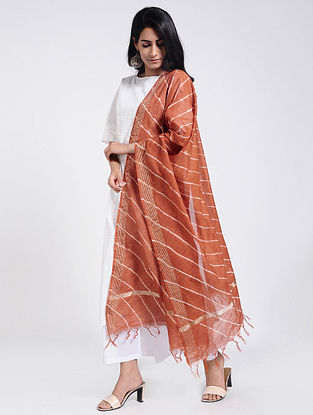 Brown-Ivory Leheriya Chanderi Dupatta with Zari