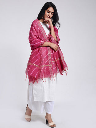 Red Leheriya Chanderi Dupatta with Zari