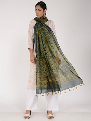 Green-Mustard Ajrakh-printed Cotton Mul Dupatta
