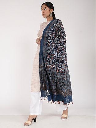 Blue-Ivory Ajrakh-printed Cotton Mul Dupatta
