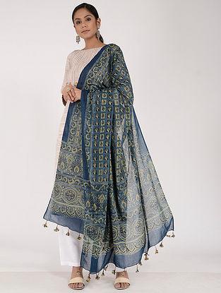 Blue-Green Ajrakh-printed Cotton Mul Dupatta