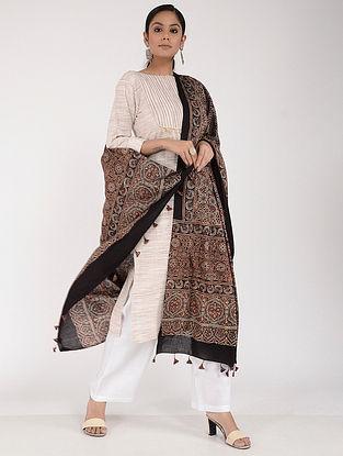 Red-Black Ajrakh-printed Cotton Mul Dupatta
