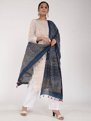 Blue-Red Ajrakh-printed Cotton Mul Dupatta