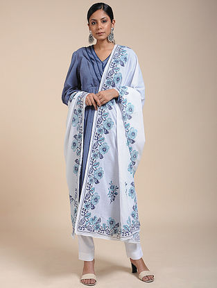 Ivory-Blue Block-printed Cotton Mul Dupatta
