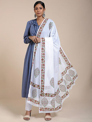 Ivory-Green Block-printed Cotton Mul Dupatta
