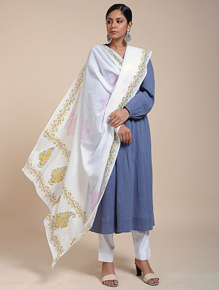Ivory-Yellow Block-printed Cotton Mul Dupatta