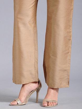 Beige Cotton Silk Palazzos