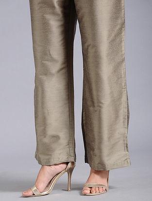 Grey-Green Cotton Silk Palazzos