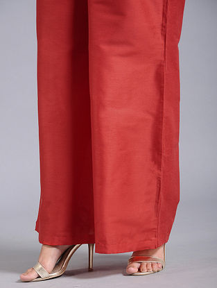 Red Cotton Silk Palazzos