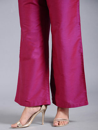 Pink Cotton Silk Palazzos