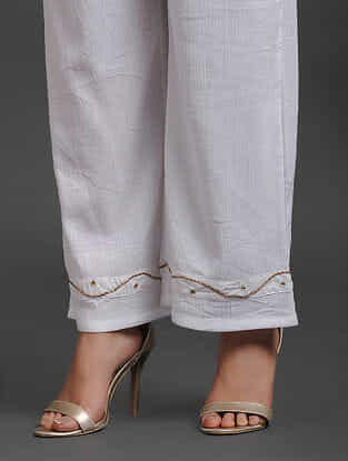 White Zardozi Hand Embroidered Wrinkled Cotton Palazzos