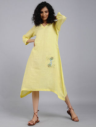 Yellow Hand-Embroidered Linen Dress
