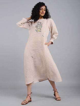 Beige Hand-Embroidered Linen Dress