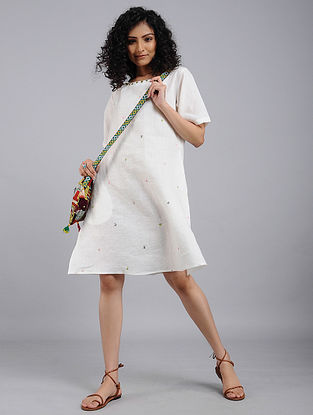 Ivory Hand-Embroidered Linen Dress