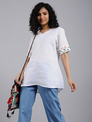 Ivory Hand-Embroidered Linen Top