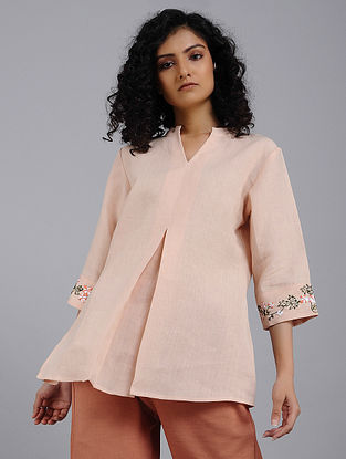 Peach Hand-Embroidered Linen Top