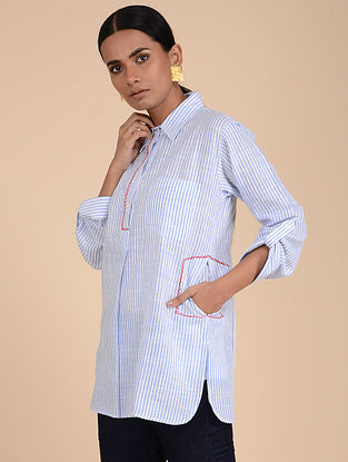 Grey Hand Embroidered Cotton Tunic