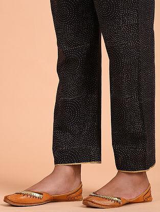 Black Ajrakh Cotton Pants with Gota Details