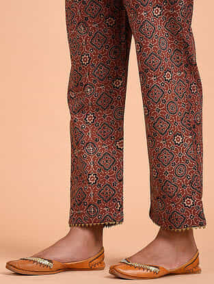 Red Ajrakh Cotton Pants with Gota Details
