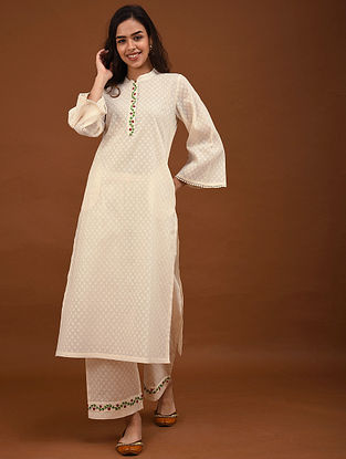 Kora Hand Embroidered Cotton Jacquard Kurta