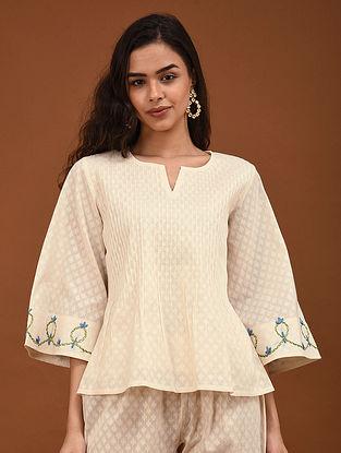 Kora Hand Embroidered Cotton Jacquard Top