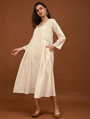 Kora Hand Embroidered Cotton Jacquard Dress