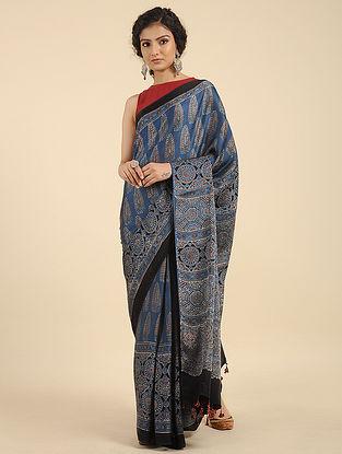 Indigo Ajrakh Printed Modal Silk Saree