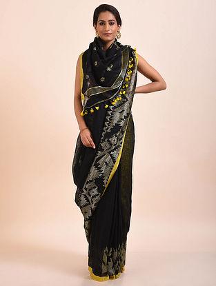Black-Yellow Handwoven Linen Saree