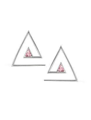 Pink Silver Stud Earrings
