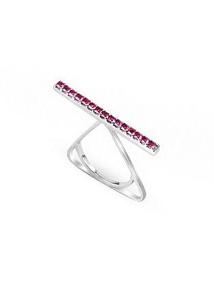 Maroon Silver Ring (Ring Size: 12)