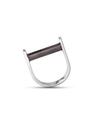 Black Enameled Silver Ring (Ring Size: 15)