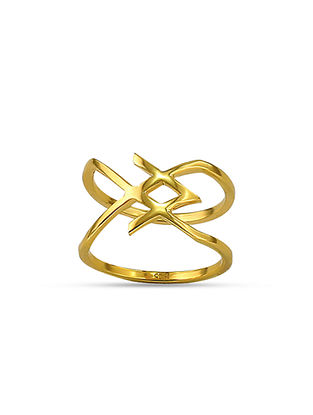 Gold Tone Silver Ring (Ring Size: 10)