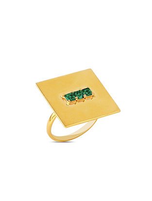 Green Gold Tone Silver Ring (Ring Size: 15)