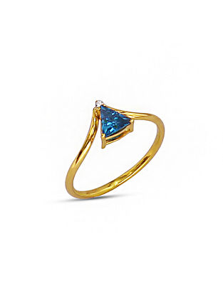 Blue Gold Tone Silver Ring (Ring Size: 9)