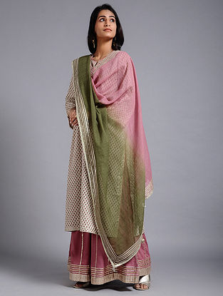 Powder Pink-Green Cotton Kota Dupatta with Gota Work