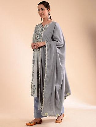 Grey Crinkled Cotton Dupatta with Gota