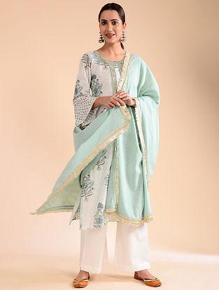Aqua Crinkled Cotton Dupatta with Gota