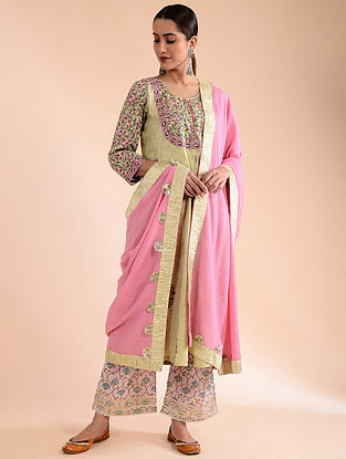 Pink Crinkled Cotton Dupatta with Gota