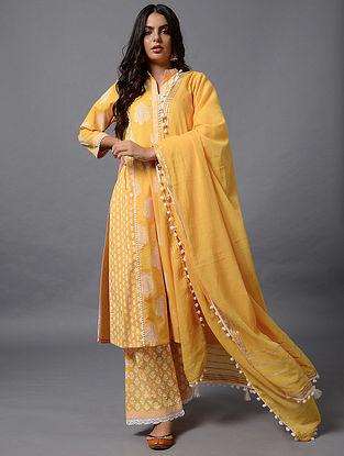 Yellow Cotton Dupatta with Gota Work